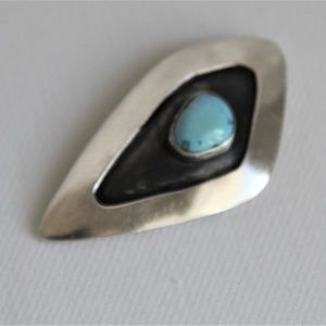Vintage Sterling Silver Turquoise Geometric Brooch